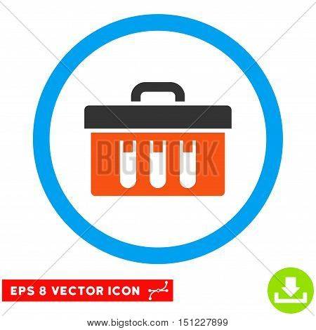 Rounded Analysis Box EPS vector icon. Illustration style is flat icon symbol inside a blue circle.