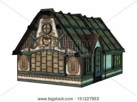 3D Rendering Fairytale Cottage On White