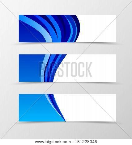 Set of banner design. Banner for header. Design of banner in blue wave style. Aqua design banners