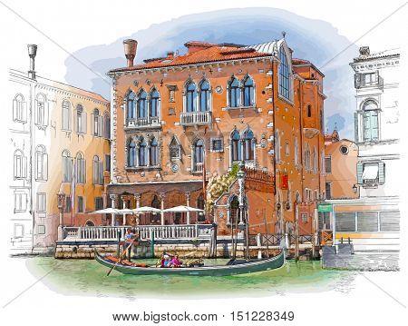 Venice - Grand Canal. Ancient building & gondola. Vector drawing