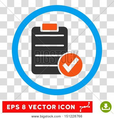 Rounded Apply Form EPS vector pictograph. Illustration style is flat icon symbol inside a blue circle.
