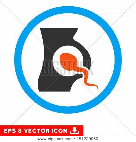 Rounded Artificial Insemination EPS vector pictograph. Illustration style is flat icon symbol inside a blue circle.