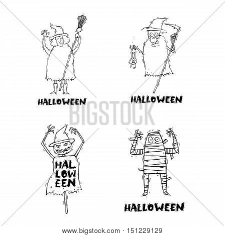Happy halloween poster, banner, fly-er. Pumpkin. Lettering, hand-drawn, lino-cut. Halloween party. Flat design vector illustration.
