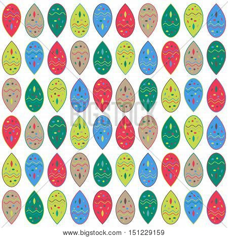 Abstract colorful blobs vector ornament, red green yellow brown drop shapes pattern