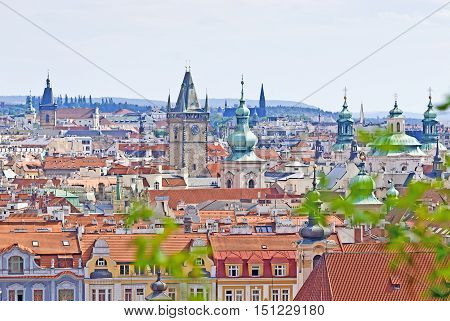 Prague Overview from Letna Czech Republic in the summer