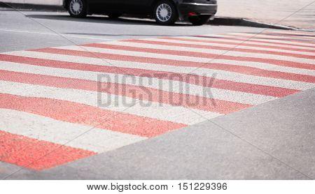 Urban street with pedestrian crossing