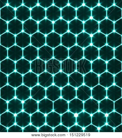 Honeycomb seamless pattern. Vector geometric background luminous style