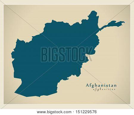 Modern Map Afghanistan AF vector high res