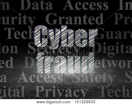 Safety concept: Glowing text Cyber Fraud in grunge dark room with Dirty Floor, black background with  Tag Cloud
