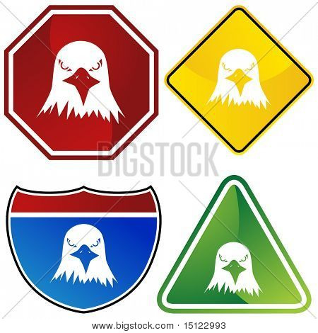 Bald eagle icon isolated on a white background.
