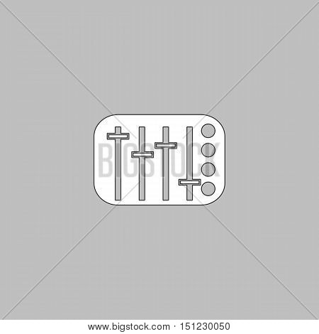 Sound Mixer Simple line vector button. Thin line illustration icon. White outline symbol on grey background