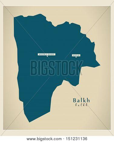 Modern Map Balkh Afghanistan AF vector high res