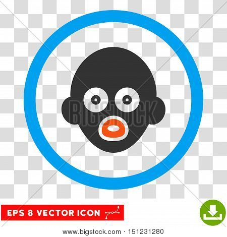 Rounded Baby Head EPS vector pictogram. Illustration style is flat icon symbol inside a blue circle.