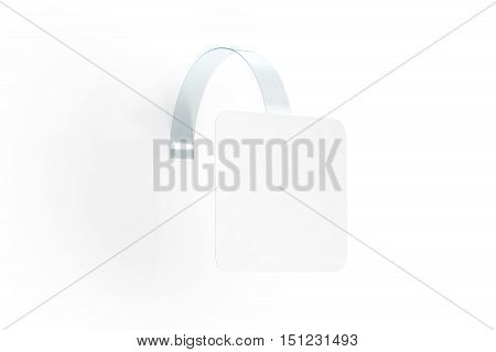 Blank white wobbler hang on wall mock up clipping path 3d rendering. Space rectangular paper mockup on plastic transparent strip. Clear price sticker. Pricing tag label template isolated.