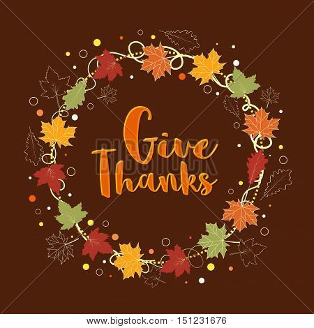 Stylish Text Give Thanks in maple leaves decorated frame, Elegant greeting card design for Happy Thanksgiving Day celebration.
