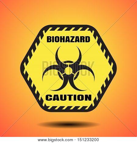 Vector poster of biohazard hexagon label on the gradient orange background.