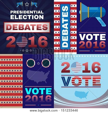 Digital vector usa presidential election with debates 2016, flat style