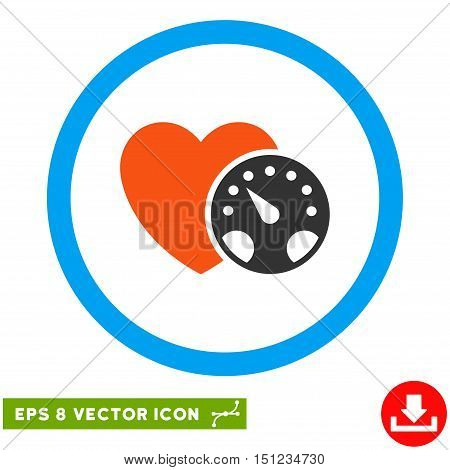 Rounded Blood Pressure Meter EPS vector pictogram. Illustration style is flat icon symbol inside a blue circle.