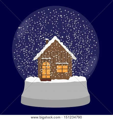 transparent snow globe with a house inside