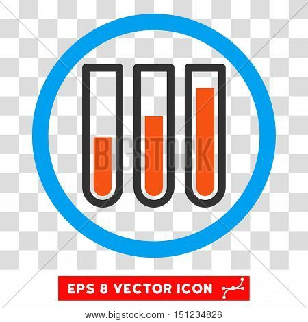 Rounded Blood Test Tubes EPS vector pictograph. Illustration style is flat icon symbol inside a blue circle.