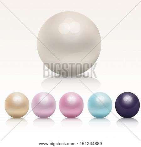 Very high quality original trendy vector realistic pearl set isolated on white background