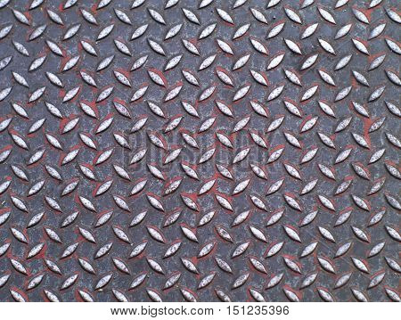 closeup shot of dirty metallic surface with diamond plate pattern top view