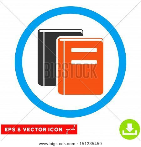 Rounded Books EPS vector pictograph. Illustration style is flat icon symbol inside a blue circle.