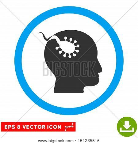 Rounded Brain Parasite EPS vector icon. Illustration style is flat icon symbol inside a blue circle.