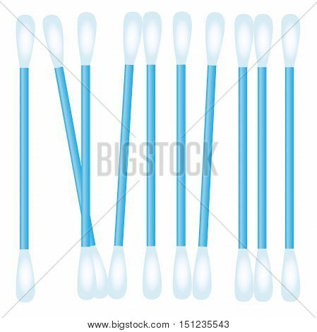high quality original trendy realistic cotton swab illustration for medical catalog or ads, web design