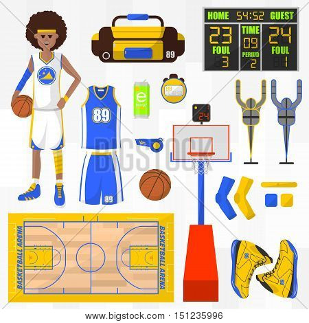Set of basketball vector elements. Sport symbol basket and ball, ring and player. Basketball equipment. Game competition concept. Flat vector icons. Vector illustration isolated on white background