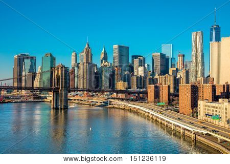 Skyline of downtown New York, Manhattan at the morning light , New York City, USA