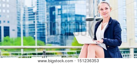 Dynamic Young Executive Girl Working Outside