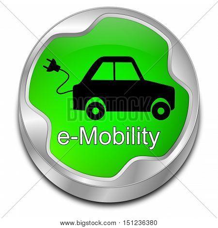 decorative green  e-Mobility Button - 3D illustration