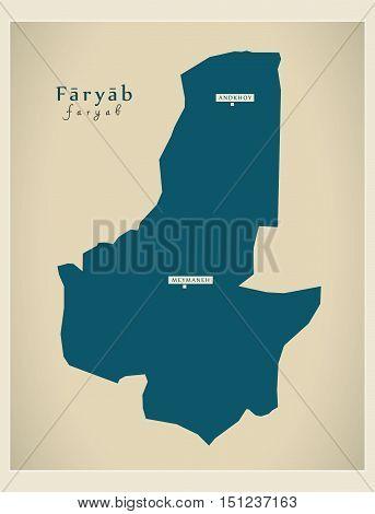Modern Map Faryab Afghanistan AF vector high res