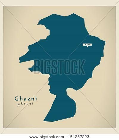Modern Map Ghazni Afghanistan AF vector high res