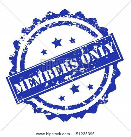 Members only blue stamp vector design isolated on white