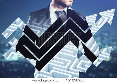 Businessperson in suit and abstract chart arrows on maze background. Double exposure. Business challenge concept