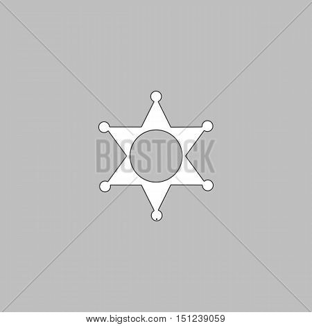 Sheriff star Simple line vector button. Thin line illustration icon. White outline symbol on grey background