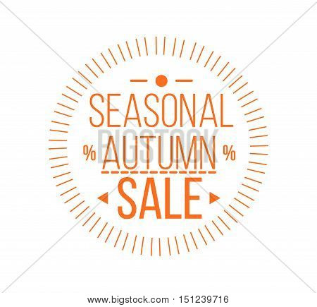 Autumn sale Logotype. Special offer orange badge or label and ribbon, element with leaves, banner. Vector Illustration.