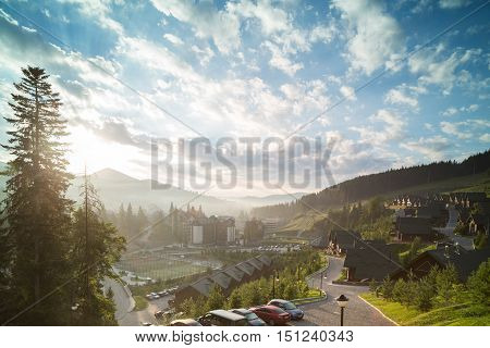Dawn in the Ukrainian Carpathians. Bukovel located in the valley.