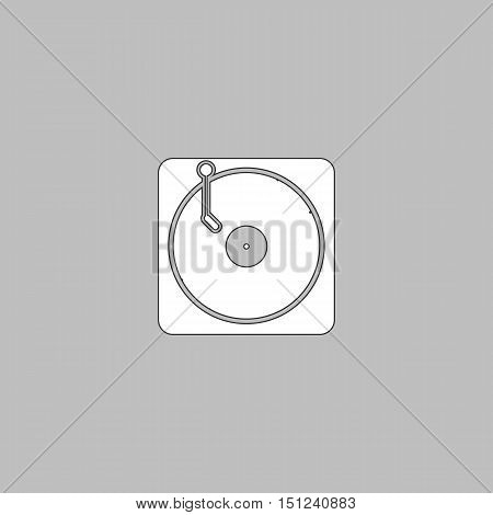 vinyl Simple line vector button. Thin line illustration icon. White outline symbol on grey background