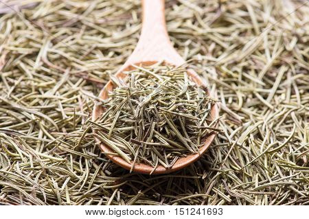 Rosemary in wooden spoon. Dry rosemary. Rosemary background.