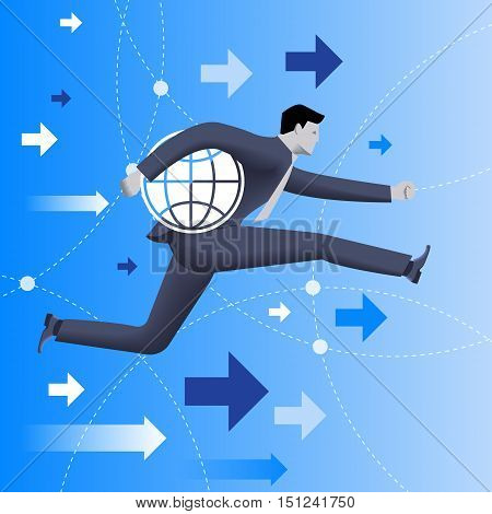Responsible business concept. Confident businessman in business suit runs holding a globe under his arm as symbol of business power and responsibility.