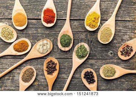 Various spices in wooden spoons on old wooden table. Top view.