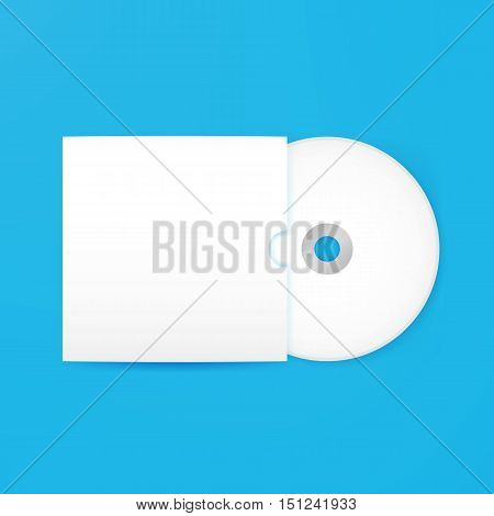 Compact Disc Empty Mockup with Cover. Vector Illustration of Blank White Realistic Disk over Blue Background.