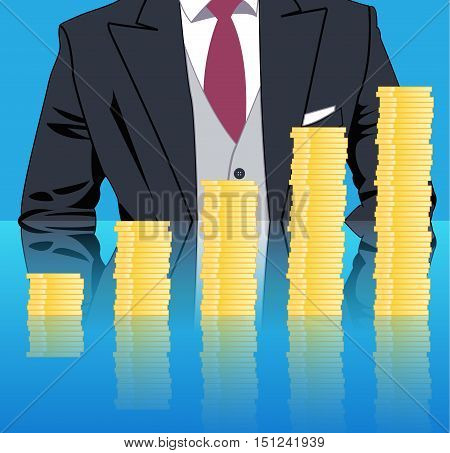 Stacking profits business concept. Confident businessman in business stack column of gold coins on mirror table. Concept of success investment profitable business.
