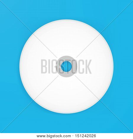 Compact Disk Empty Mockup. Vector Illustration of Blank White Realistic Disc over Blue Background.