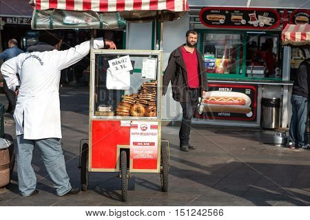 Traditional turkish Bakery Street mobile Vendor and Salesman waiting for Customers. Istanbul, Turkey, November 19, 2015