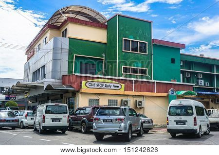 Labuan,Malaysia-Oct 10,2016:Duty free shop in Labuan Island Malaysia.The cheap,duty free products like alcohol & cigarette are among the main attractions of the island & will remain a duty free island