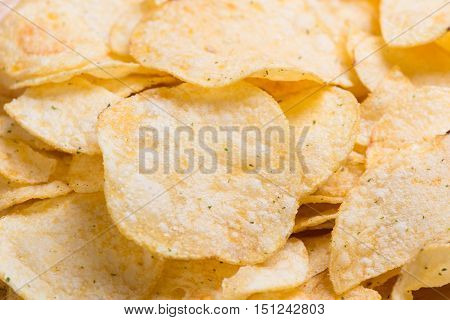 potato chips close up. potato chips background.